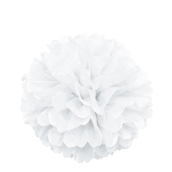 Unique Party 16 Inch Puff Balls - White