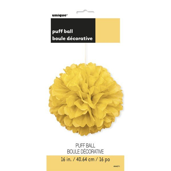 Unique Party 16 Inch Puff Balls - Yellow