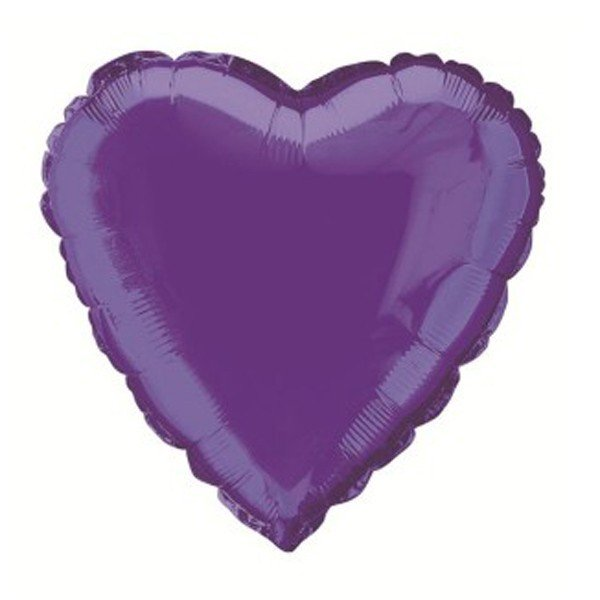 Unique Party 18 Inch Heart Foil Balloon - Deep Purple