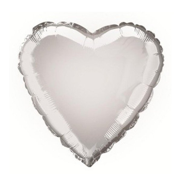 Unique Party 18 Inch Heart Foil Balloon - Silver