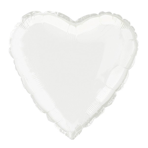 Unique Party 18 Inch Heart Foil Balloon - White