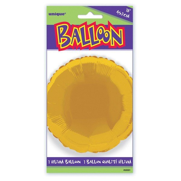 Unique Party 18 Inch Round Foil Balloon - Gold