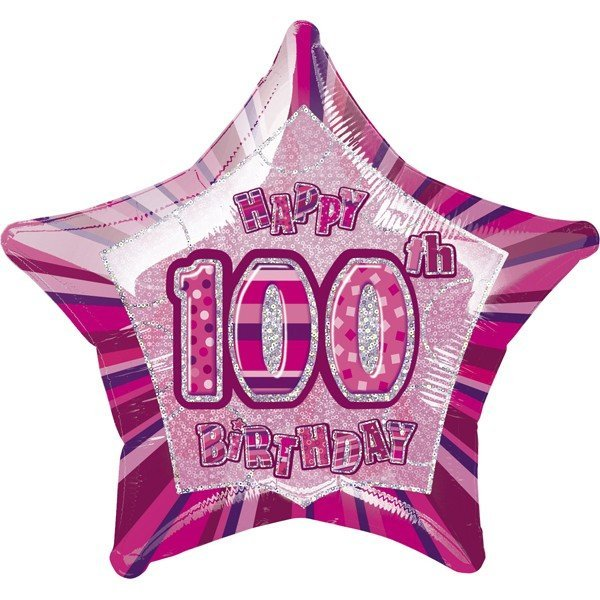 Unique Party 20 Inch Star Foil Balloon - 100th Pink