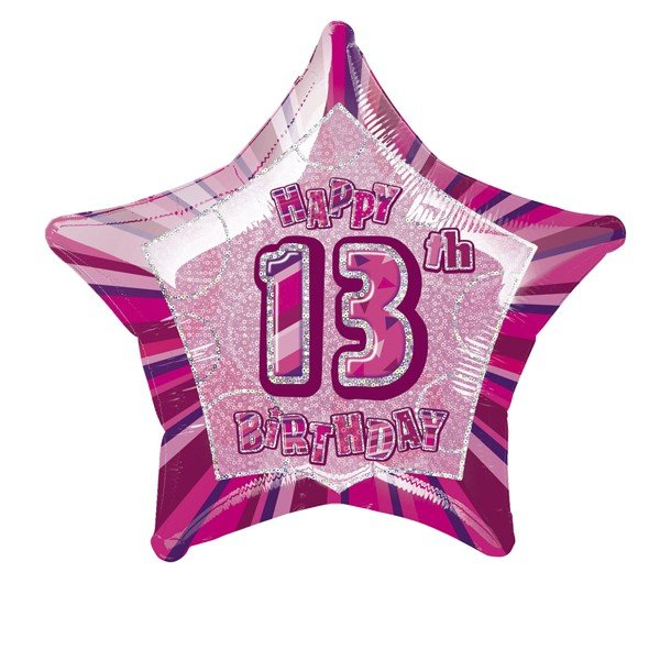 Unique Party 20 Inch Star Foil Balloon - 13th Pink
