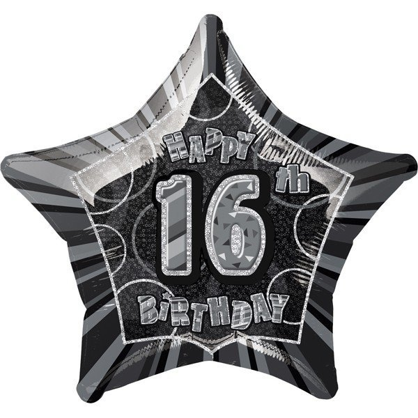 Unique Party 20 Inch Star Foil Balloon - 16th Black/Silver