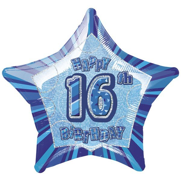 Unique Party 20 Inch Star Foil Balloon - 16th Blue