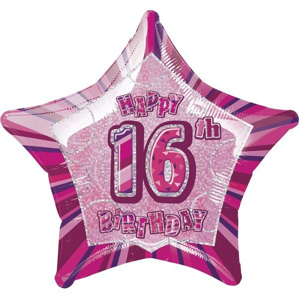 Unique Party 20 Inch Star Foil Balloon - 16th Pink