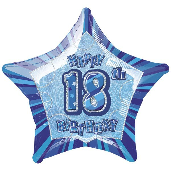 Unique Party 20 Inch Star Foil Balloon - 18th Blue