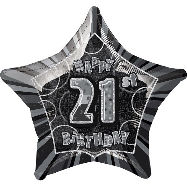 Unique Party 20 Inch Star Foil Balloon - 21st Black/Silver