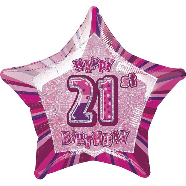 Unique Party 20 Inch Star Foil Balloon - 21st Pink