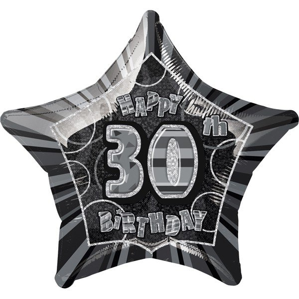 Unique Party 20 Inch Star Foil Balloon - 30th Black/Silver
