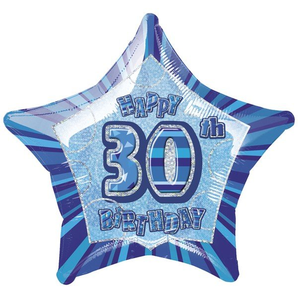 Unique Party 20 Inch Star Foil Balloon - 30th Blue