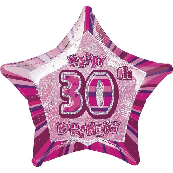 Unique Party 20 Inch Star Foil Balloon - 30th Pink