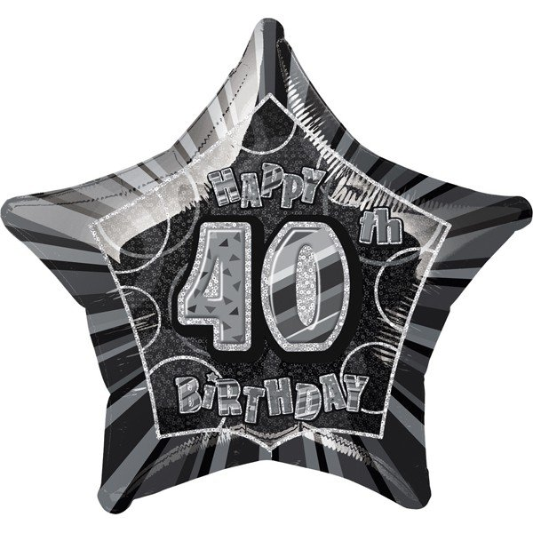 Unique Party 20 Inch Star Foil Balloon - 40th Black/Silver