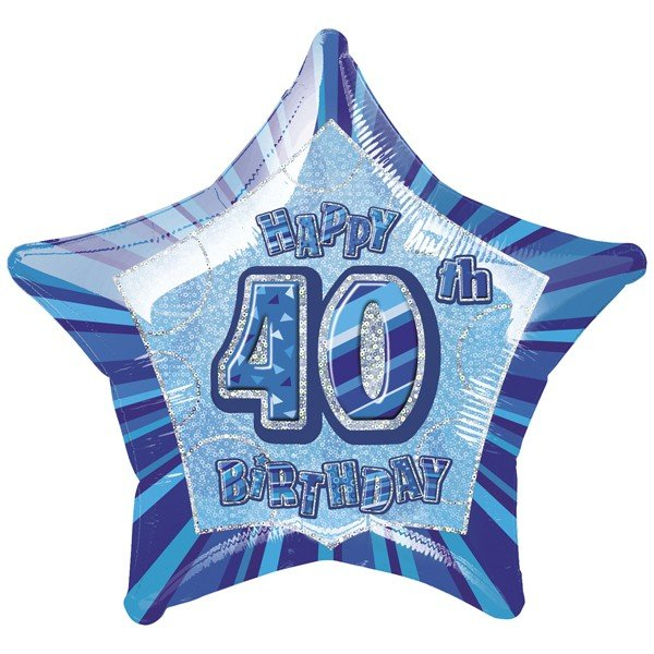 Unique Party 20 Inch Star Foil Balloon - 40th Blue
