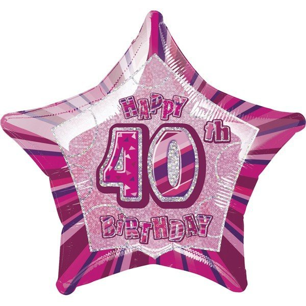 Unique Party 20 Inch Star Foil Balloon - 40th Pink
