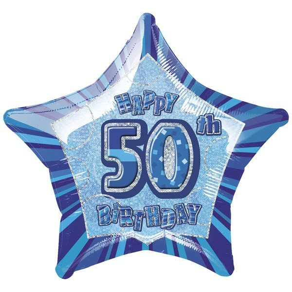 Unique Party 20 Inch Star Foil Balloon - 50th Blue
