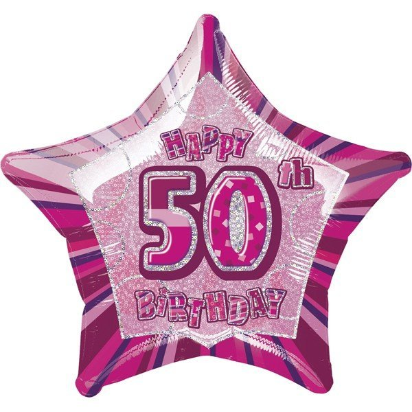 Unique Party 20 Inch Star Foil Balloon - 50th Pink