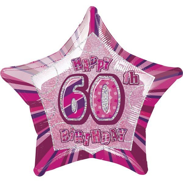Unique Party 20 Inch Star Foil Balloon - 60th Pink