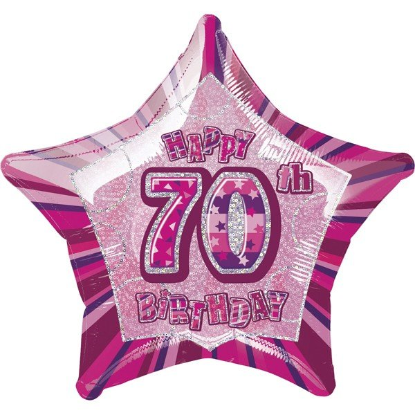 Unique Party 20 Inch Star Foil Balloon - 70th Pink