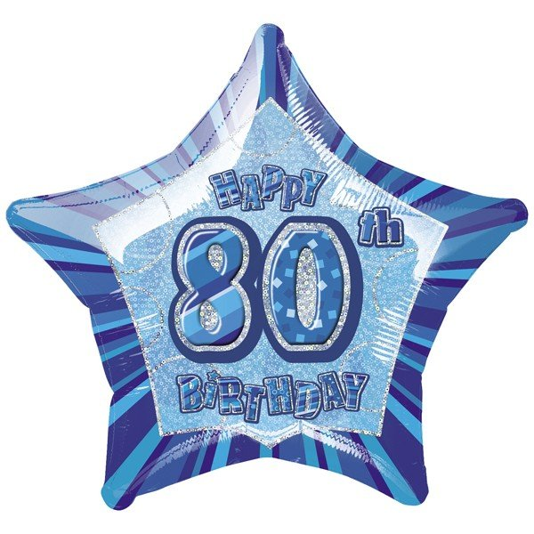Unique Party 20 Inch Star Foil Balloon - 80th Blue