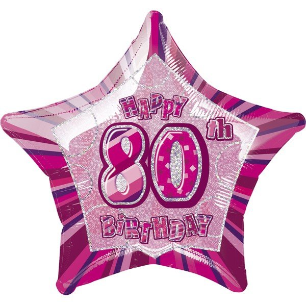 Unique Party 20 Inch Star Foil Balloon - 80th Pink