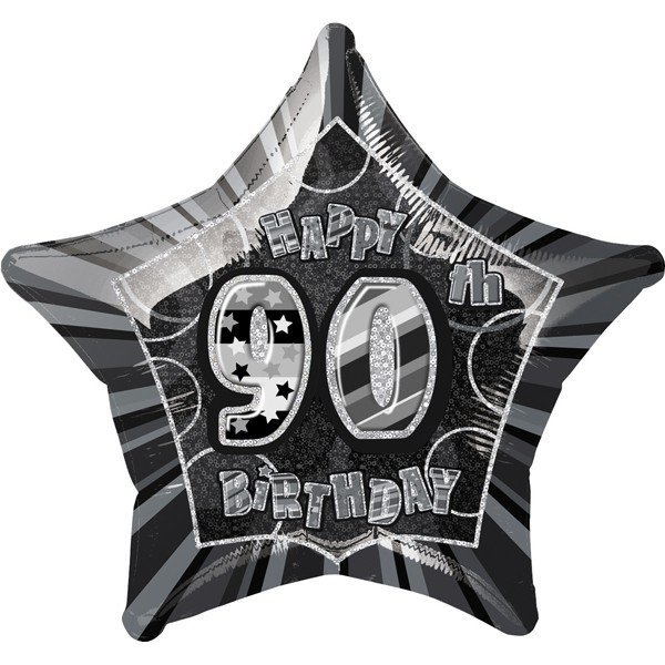 Unique Party 20 Inch Star Foil Balloon - 90th Black/Silver