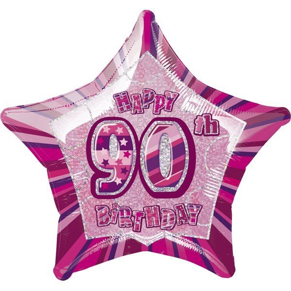 Unique Party 20 Inch Star Foil Balloon - 90th Pink
