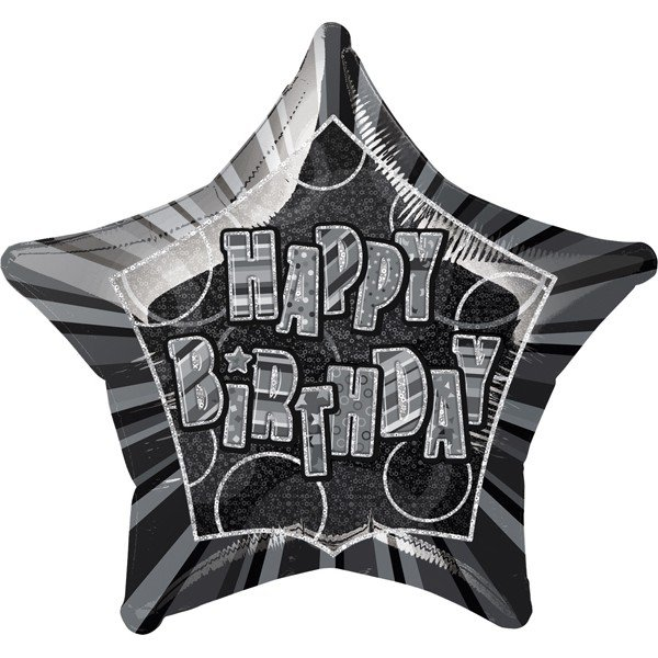 Unique Party 20 Inch Star Foil Balloon - Birthday Black/Silver