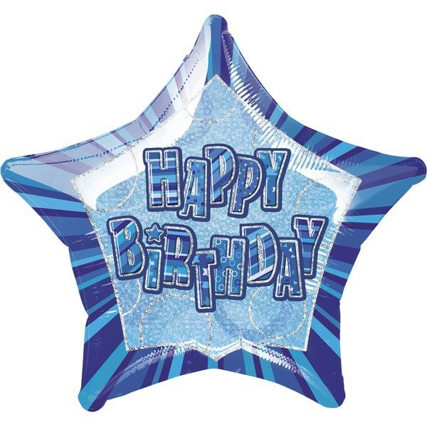 Unique Party 20 Inch Star Foil Balloon - Birthday Blue