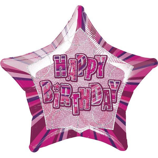 Unique Party 20 Inch Star Foil Balloon - Birthday Pink