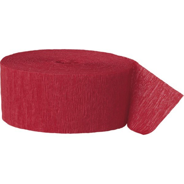 Unique Party 81 Foot Crepe Streamer - Red
