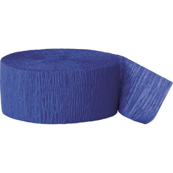 Unique Party 81 Foot Crepe Streamer - Royal Blue