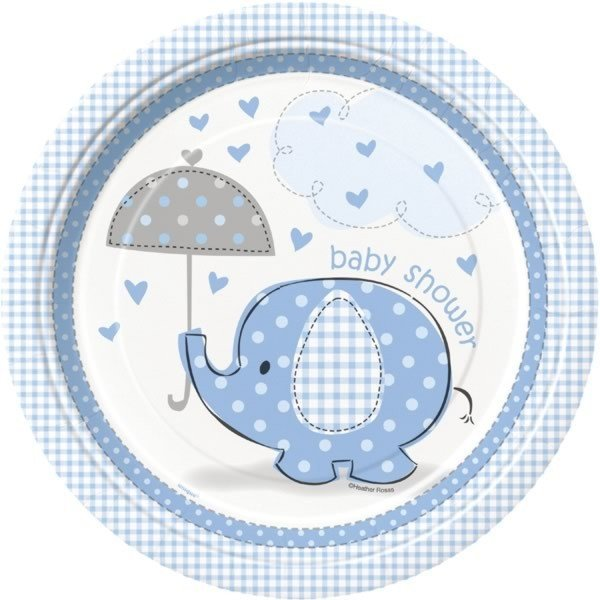 Unique Party 9 Inch Blue Plates - Umbrellaphants