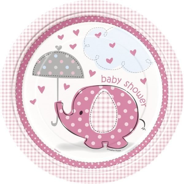 Unique Party 9 Inch Pink Plates - Umbrellaphants