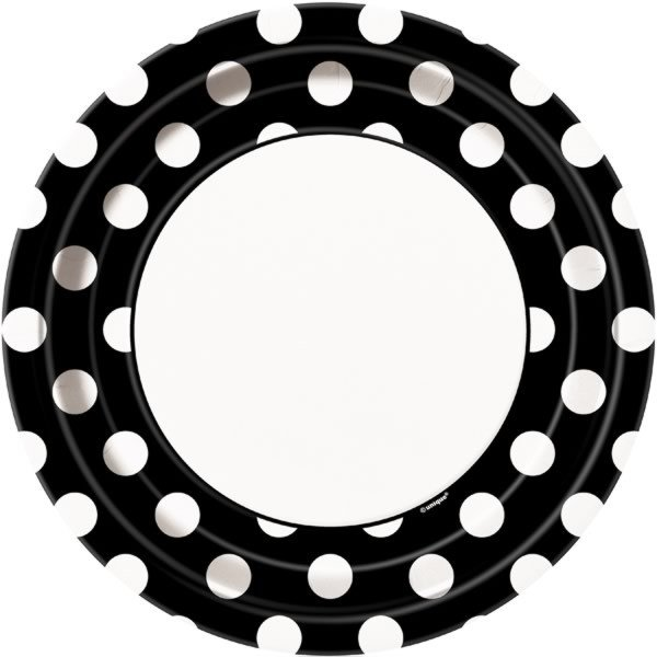 Unique Party 9 Inch Plates - Black Dots