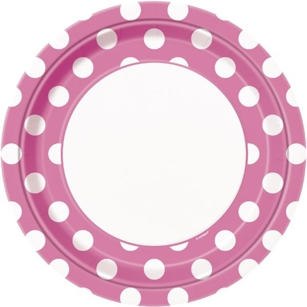 Unique Party 9 Inch Plates - Hot Pink Dots