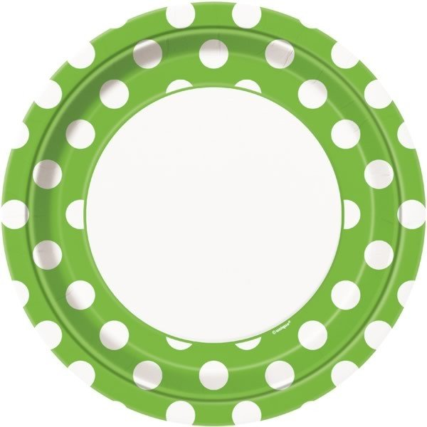 Unique Party 9 Inch Plates - Lime Green Dots