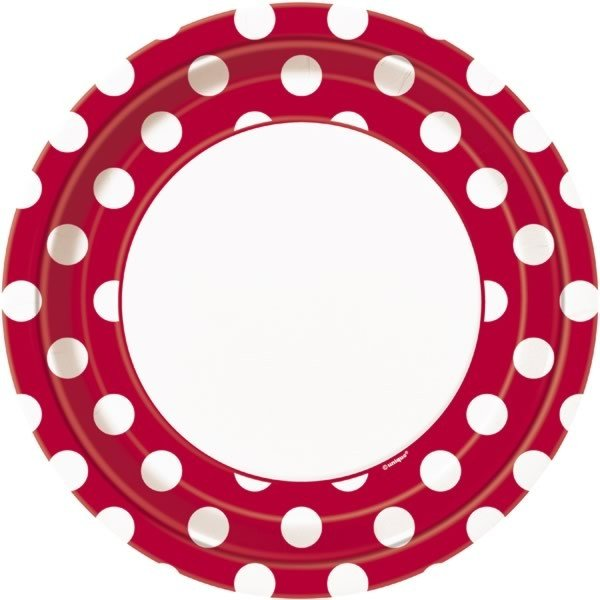 Unique Party 9 Inch Plates - Ruby Red Dots