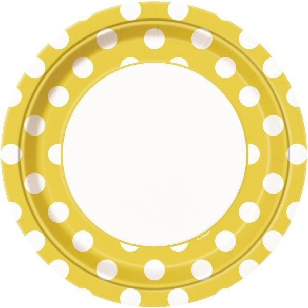 Unique Party 9 Inch Plates - Yellow Dots