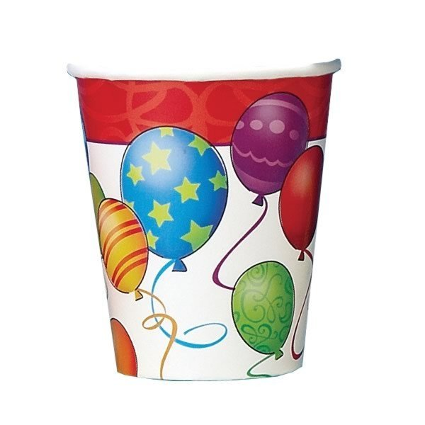 Unique Party 9oz Cups - Birthday Balloons