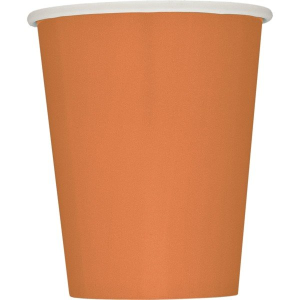 Unique Party 9oz Cups - Pumpkin Orange