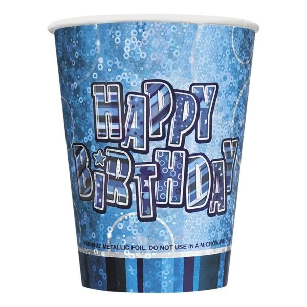 Unique Party 9oz Prism Cup - Blue Glitz