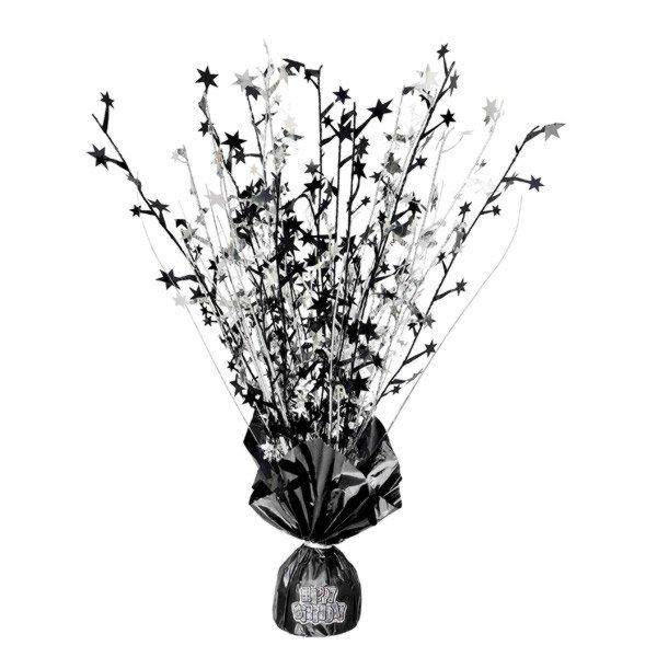 Unique Party Balloon Weight Centrepiece - Black Stickers