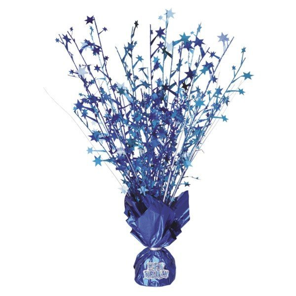 Unique Party Balloon Weight Centrepiece - Blue Stickers