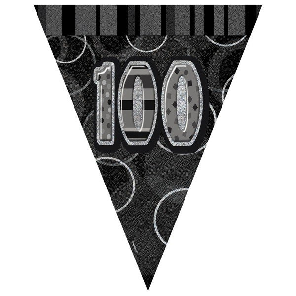 Unique Party Black-Silver Pennant Bunting - 100