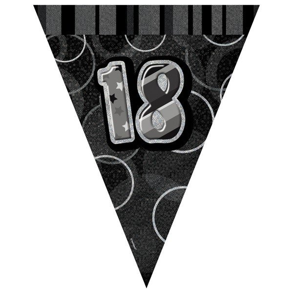 Unique Party Black-Silver Pennant Bunting - 18