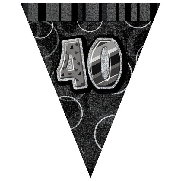 Unique Party Black-Silver Pennant Bunting - 40