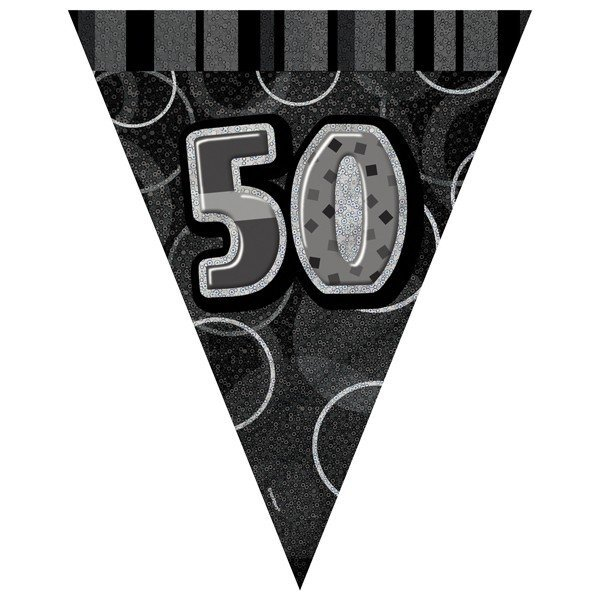 Unique Party Black-Silver Pennant Bunting - 50