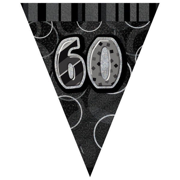 Unique Party Black-Silver Pennant Bunting - 60